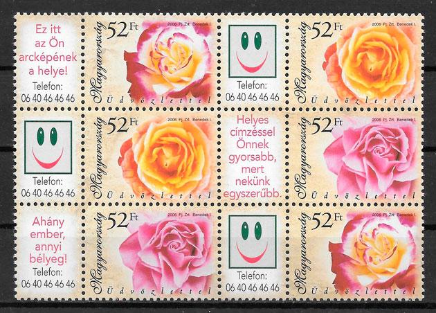 filatelia coleccion rosas Hungria 2006