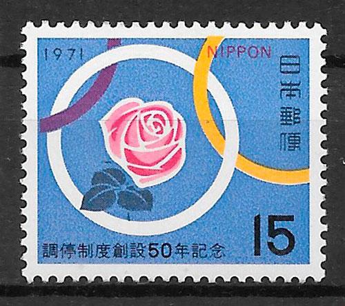 filatelia rosas Japón 1971