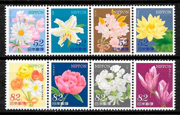 sellos Japón flora 2014