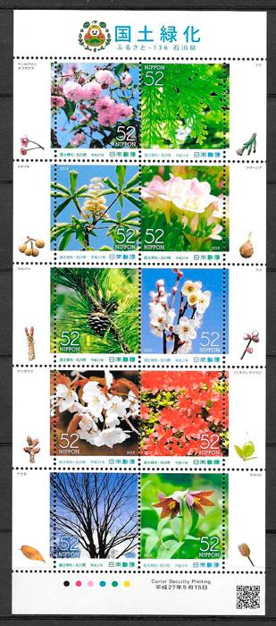 filatelia flora Japon 2015