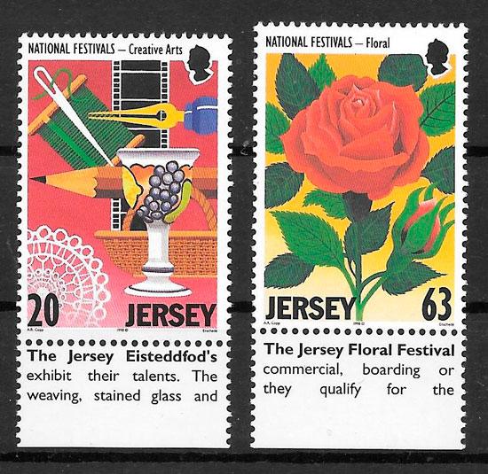 filatelia colección rosas Jersey 1998