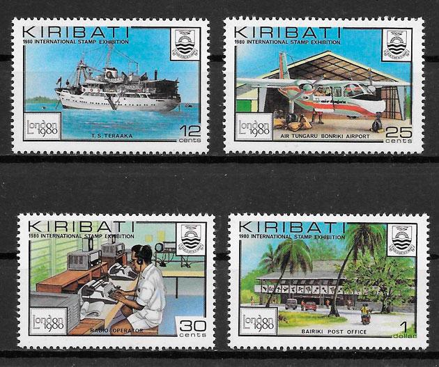 sellos transporte Kiribati 1980