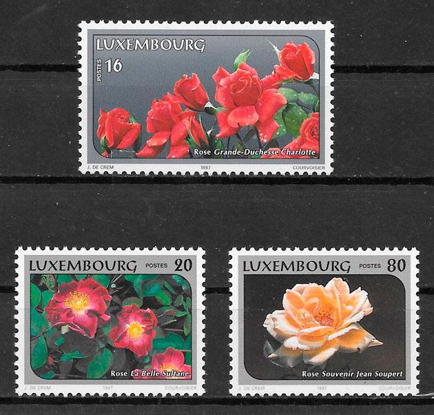 sellos rosas Luxemburgo 1997