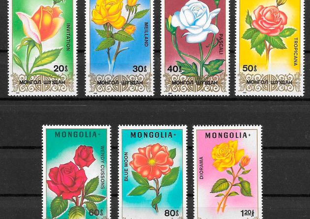 filatelia colección rosas Mongolia 1988