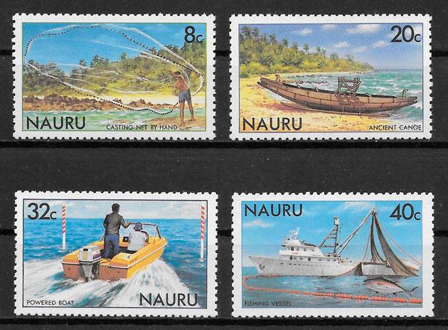 filatelia colección transporte NAURU 1981