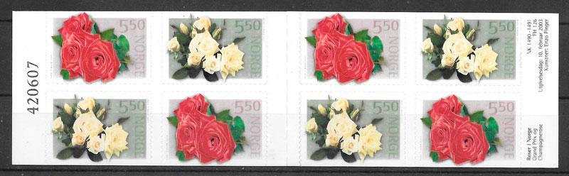 filatelia rosas Noruega 2002