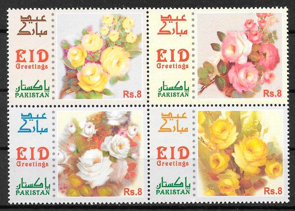 colección sellos rosas Pakistan 2012