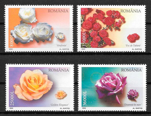 sellos rosas Rumania 2004