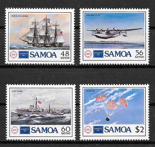 sellos transporte Samoa 1986