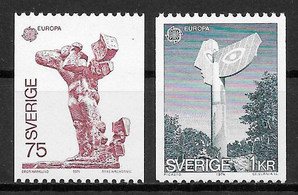 sellos Europa Suecia 1974