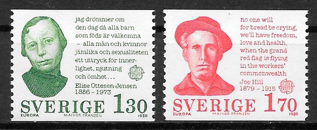 filatelia colección Europa Suecia 1980