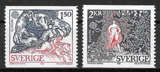 filatelia colección Europa Suecia 1981