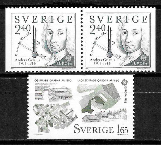 filatelia colección Europa Suecia 1982