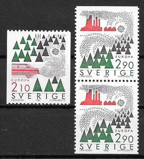 colección sellos Europa Suecia 1986