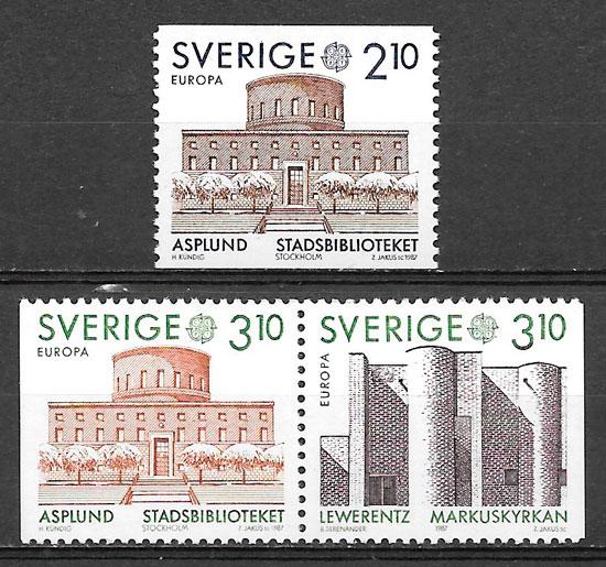 colección sellos Europa Suecia 1987