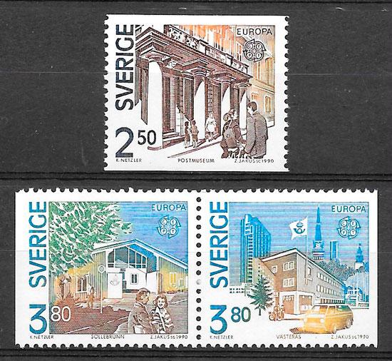 sellos Europa Suecia 1990