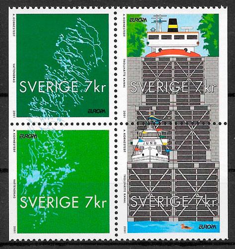 filatelia colección Europa Suecia 2001