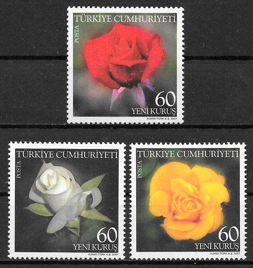 filatelia rosas Turquia 2007