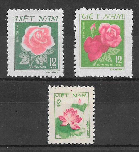 filatelia colección rosas Viet Nam 1980