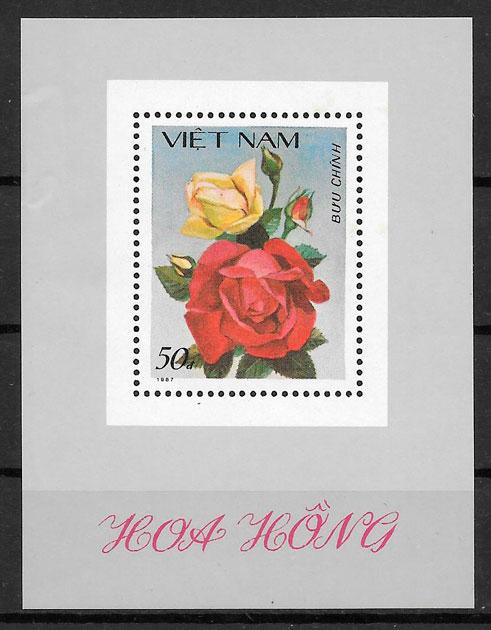 colección sellos rosas Viet Nam 1987