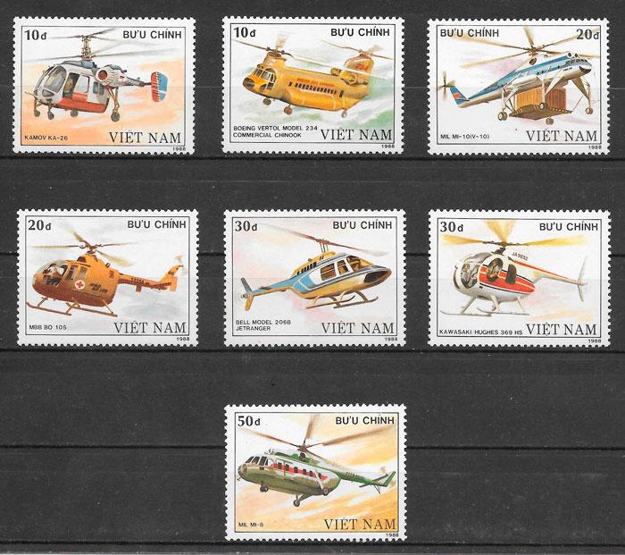sellos transporte Viet Nam 1988