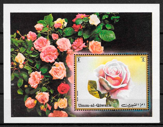 filatelia rosas de Umm al Qiguin