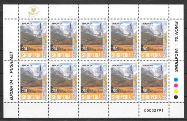 sellos tema Europa Albania 2004