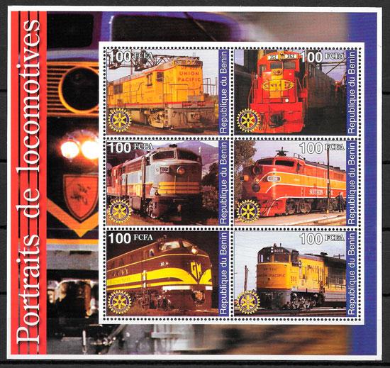 filatelia colección trenes Benín 2002