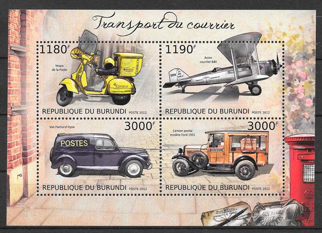filatelia colección transporte Burundi 2012