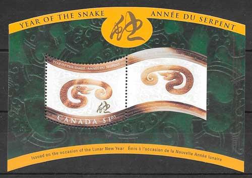 coleccion sellos año lunar Canada 2001
