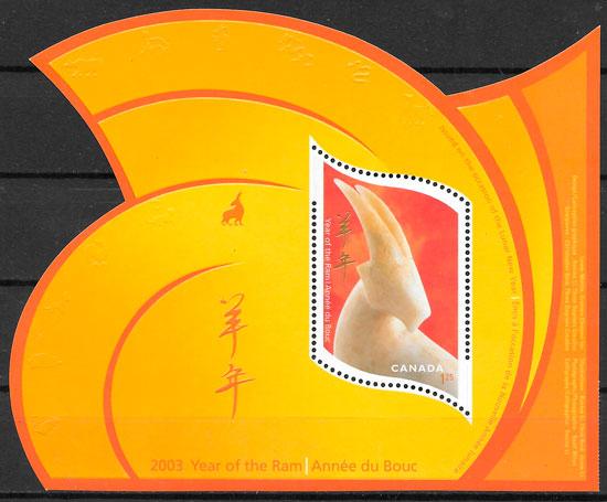 filatelia coleccion año lunar Canada 2003