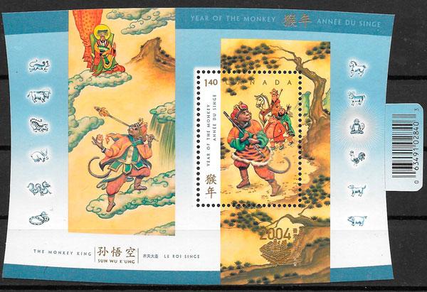 sellos año lunar Canada 2004