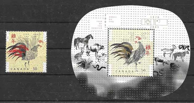 filatelia ano lunar Canada 2005