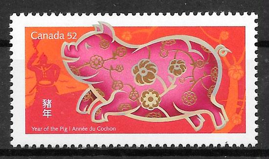 sellos año lunar Canada 2006