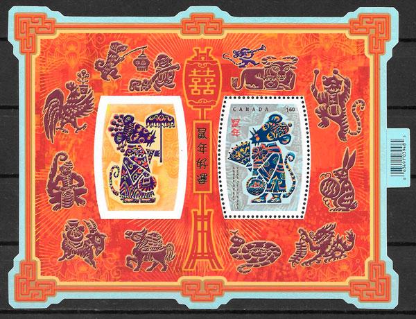 filatelia coleccion ano lunar Canada 2008