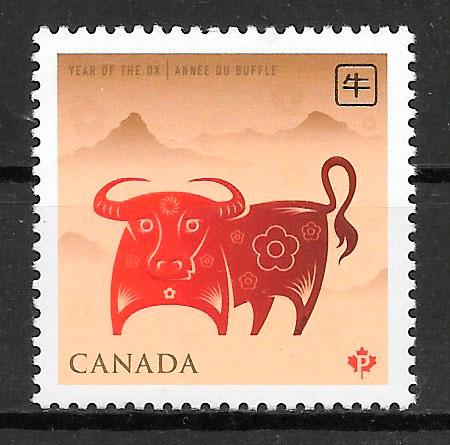 sellos año lunar Canada 2009