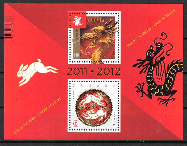 sellos año lunar Canada 2012