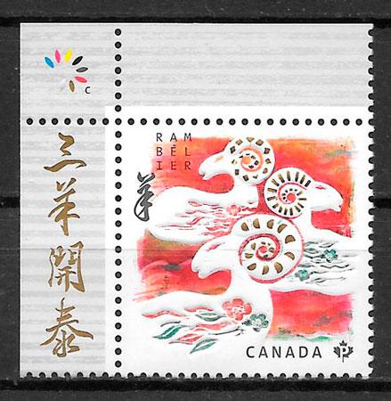 filatelia año lunar Canada 2015