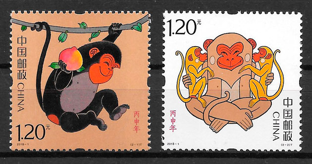 colección sellos año lunar China 2016