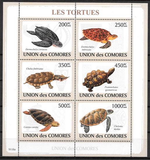 colección sellos fauna Comores 2009