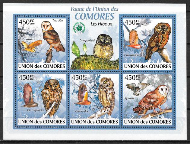 sellos fauna Comores 2009