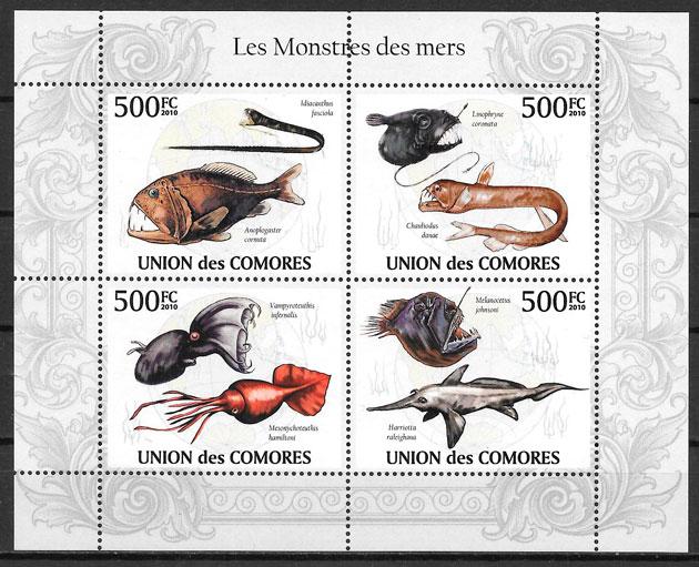 filatelia fauna Comores 2009