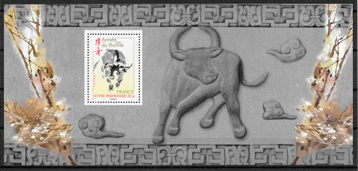filatelia colección año lunar Francia 2009