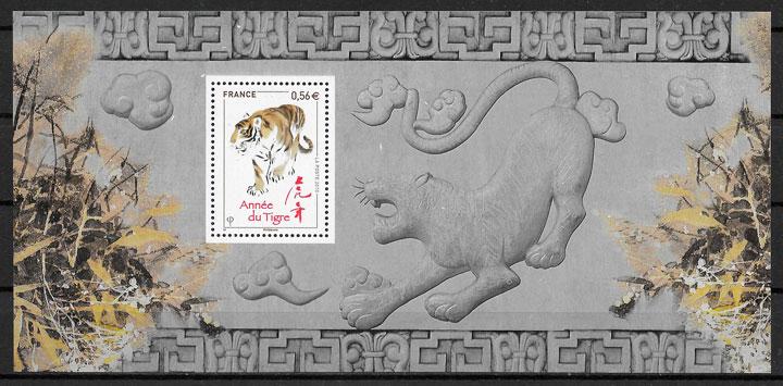 filatelia colección año lunar Francia 2010