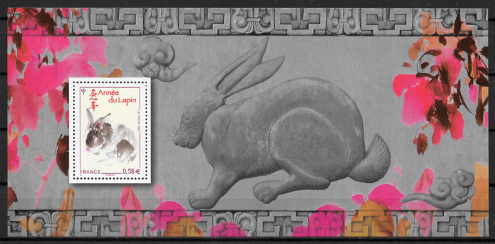 filatelia colección año lunar Francia 2011