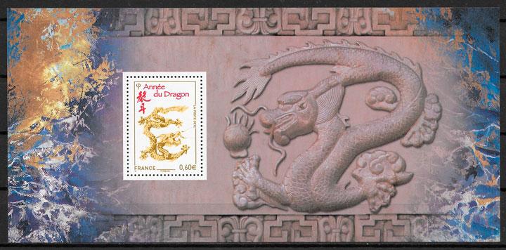 colección sellos año lunar Francia 2012