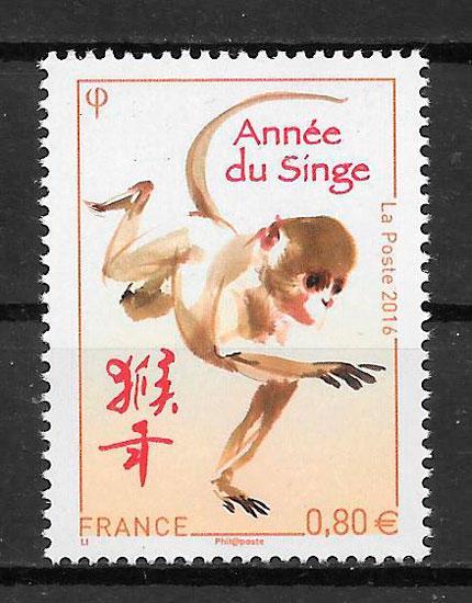 filatelia coleccion año lunar Francia 2016