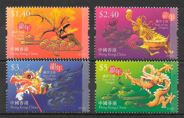sellos ano lunar Hong Kong 2012