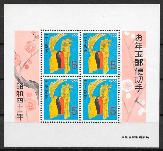 colección sellos año lunar Japón 1965