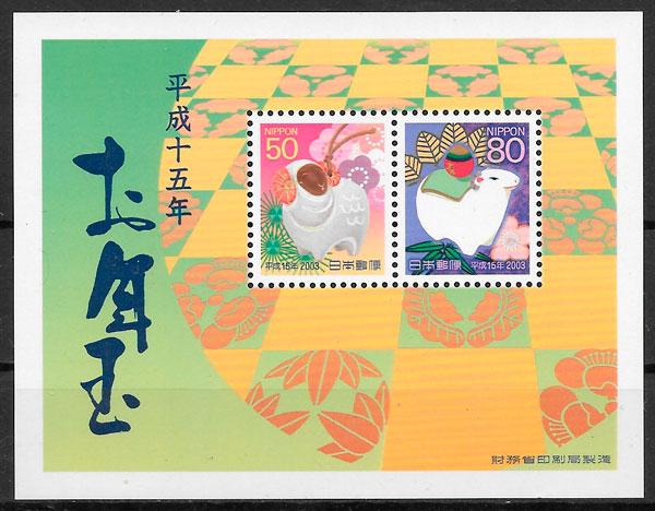 filatelia colección año lunar Japón 2003